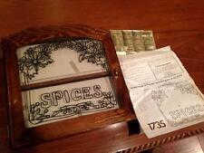 Antique Vintage Wood Spice Rack Display Apothecary Medecine Bottle