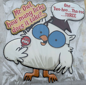 "TOOTSIE Roll Tootsie POPS 15"" X 16"" TIN SIGN WITH OWL, ONE Two-hoo, Three..NEW"