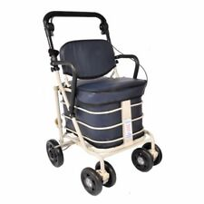 SPECIAL PRICE!! Walk&Rest.com™ Shopping Trolley w Seat, Arms & Backrest - Navy