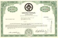 Micro-Tenna Corporation > 1969 Florida share stock certificate
