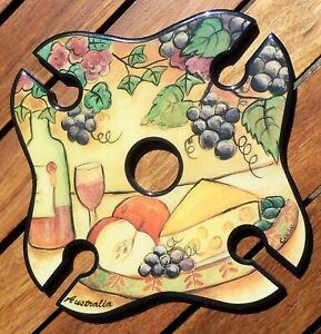 Wine Glass / Bottle Holder 4 Glass holder Handmade Signed
