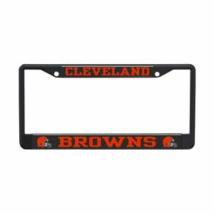 CLEVELAND BROWNS BLACK STEEL LICENSE PLATE FRAME HIGH QUALITY DOMED GRAPHICS