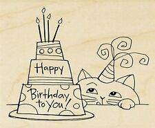 Birthday Cake And Cat, Wood Mounted Rubber Stamp STAMPENDOUS, NEW - V319