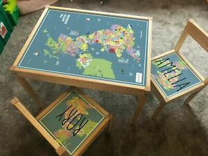 Personalised Children's STICKER SET Ikea LATT Wooden Table and 2 Chairs UK Map