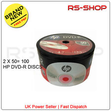 100 HP Hewlett Packard DVD-R 16X 4.7GB 120Min Disc Non Printable Silver Top
