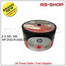 100 HP Hewlett Packard DVD-R: 16X 4.7 GB 120MIN DISC non stampabile Argento TOP