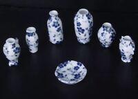 Dollhouse 7 Miniature Porcelain Vase Set Lot 1:12 Scale 3.5cm US Seller