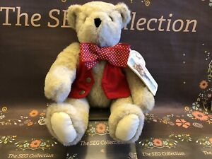 """Vermont Teddy Bear Jointed 14"""" Red Vest, Bow Tie W/Tags Plush Toy Vintage EC"""