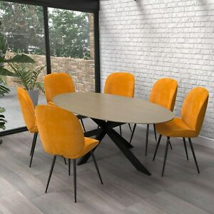 Carson Oval Light Oak Dining Table with 6 Mustard Yellow Velvet Dining Chairs
