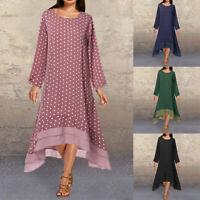 ZANZEA Women Long Sleeve Flare Dress High Low Polka Dots Long Maxi Dress Casual