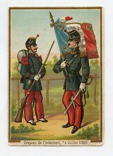 Chromo .Militaires, soldats Français avec drapeau d'infanterie 14 Juillet 1880