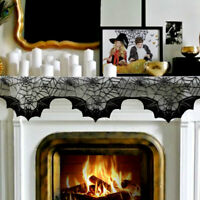 Black Lace Bats Fireplace Mantel Scarf Cover Prop Home Halloween Fireplace Decor