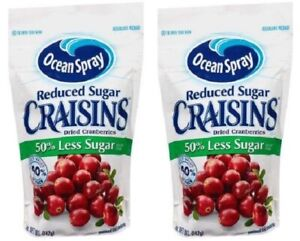 Ocean Spray Craisins Reduced Sugar Dried Cranberries 2 Bag Pack