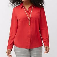 LANE BRYANT Womens Plus Size 26/28 Red The Muse Button Down Shirt Blouse