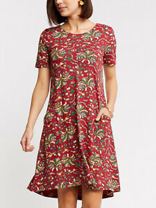 EX Fat Face Rhubarb Red Simone Alhambra Palms Dress in Sizes 12 or 14 RRP £45