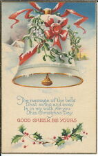 BA-075 Christmas Day Message of Bells Good Cheer Be Yours, 1907-1915 Postcard