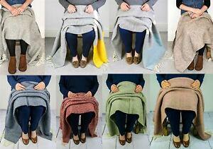 100% Wool Knee Rug Small Blanket Throw in 9 Illusion shades Made in UK Tweedmill