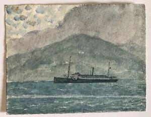 Small vintage original watercolour of warship