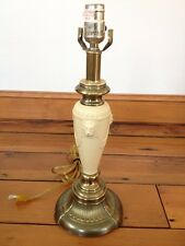 "Vintage Antique Style Brass Cream White Enamel Lion Heads Table Lamp 17"" Tall"