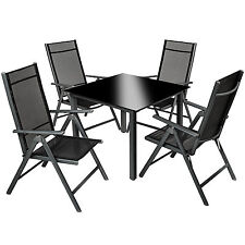 Aluminium Garden Furniture Set 8 1 Table and Chairs Dining Suite Foldig Glass Dark Grey