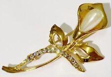 broche vintage couleur or fleur arome cristeaux diamant perle poire nacrée 4477