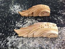 x2 Medium Decorative Carved Corbel Wood Raw - S133 -  H17cm x W5.2cm x D4.7cm