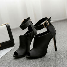 Women Stiletto High Heels Leather Peep Toe Back Zip Sandals Fashion Buckle Shoes
