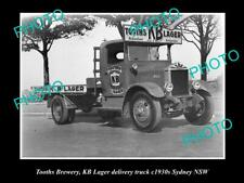 OLD 6 X 4 HISTORIC PHOTO OF TOOTHS BREWERY KB 6 X 4R DELIVERY TRUCK c1930s NSW 1