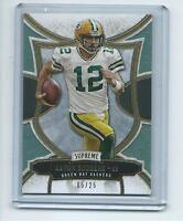 2015 Topps Supreme FB # 4 Aaron Rodgers Green Bay Packers GREEN #/25 !!!