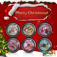 3D Nail Art Stickers Cartoon Christmas Decal Set Metal Crystal