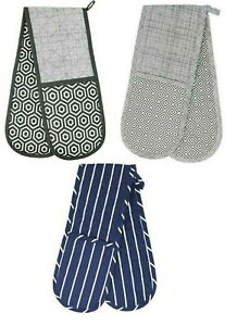 Double Oven Gloves, Heat Resistant Thick Padded Cooking Mitts, Kitchen Potholder