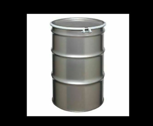 New 30 gal. Silver 304 Stainless Steel Open Head Transport Drum, ST5501
