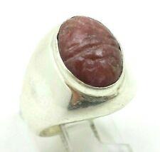 Rhodonite Scarab Signet Sterling Silver 925 Ring 11g Sz.7'' Tim874
