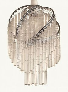 Loxton Lighting Chrome Spiral Frame Clear glass Rods