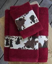 WESTERN/COWBOY DECOR RUSTIC 3 PC TOWEL SET,SEDONA RED ,SPOTTED COWBORDER