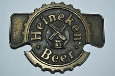 Vintage Heineken Beer Windmill Cap Logo Brass Tone Belt Buckle Rare