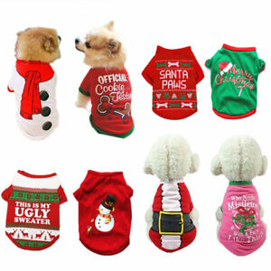 Christmas Dog Shirt Clothes For Puppy Cat Santa Pullover Sweater Pet Costume New