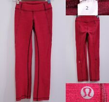 "Lululemon Red Yoga Leggings Size 2 XXS Skinny Micro Striped Pants 25"" Inseam"