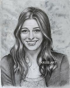 Ritratto Anne Hathaway Disegno originale a matita ed acrilico
