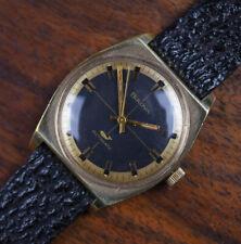 Vintage BULOVA SEA KING Whale Cross Hair Gilt Dial Automatic Gold Plate Watch