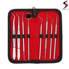 SS Pro Set Dental Dentist Scaler Tweezers Instruments tool kit Leather Case 8pcs
