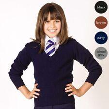 GIRLS KNITTED WOOL MIX STRETCH V NECK JUMPER KIDS UNIFORM SCHOOL WEAR