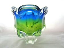 Sommerso Chribska XXL organic footed round blue & lime green art glass bowl