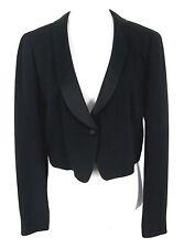 DKNY Cropped Tuxedo Jacket Sz 6 Womens Black Wool Blend Crepe Blazer Silk Trim