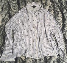 Primark schöne Streifen/Blümchen Bluse Gr.46 weiß blau Viskose