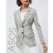 NWT ASOS Plaid Check Fitted Pleated Waist Blazer Jacket Women's 12