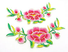 New Embroidered Flower Applique Iron On Sew On Patch Clothing Pink