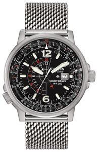 Citizen Nighthawk Eco-Drive Men's Pilot Mesh Bracelet 42mm Watch BJ7008-51E