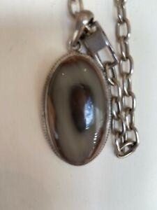 STERLING SILVER NECKLACE AGATE PENDANT