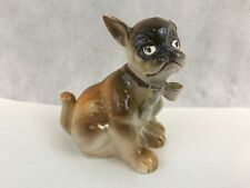 Boxer Dog Wearing Bow Vintage Ceramic Figurine Collectible Gift